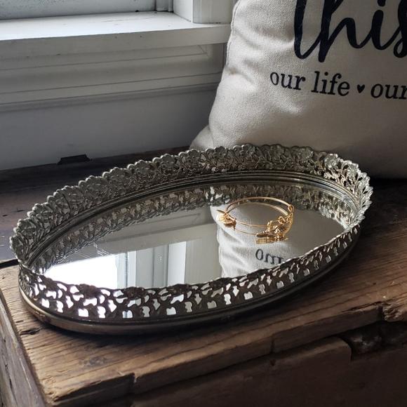 Vintage mirror dresser or vanity tray